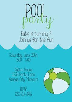 Custom Pool Party Birthday Party Invitation (Printable) by VAnderson Designs