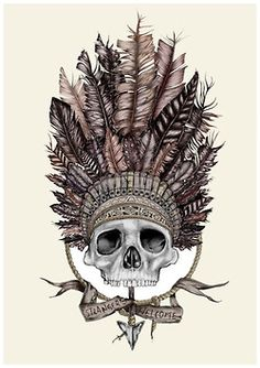 ☠ Skull with Native American Head Dress ☠
