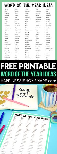 "Do you choose a ""Word of the Year"" or participate in the One Little Word project? Check out this printable list of the best Word of the Year ideas!  via @hiHomemadeBlog"