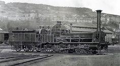 Dampflokomotive Rhein der Schweizerische Nordostbahn ihm Hauptbahnhof Zürich. Die Lokomotive stammte von der Schweizerischen Nordbahn (Spitznamen: Spanisch-Brötli-Bahn), die am 1. Juli 1853 von der Schweizerische Nordostbahn übernommen wurde.