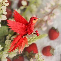 """Броши ручной работы. Ярмарка Мастеров - ручная работа. Купить брошь - птица колибри """"цветущая айва"""". Handmade. Колибри"""