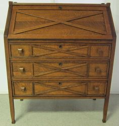 SECRETARY STICKLEY STYLE TIGER OAK WITH 3 DRAWERS 1900 - 1950