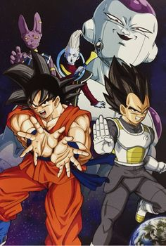 Vegeta, Goku, Whis, Lord Beerus, and Frieza