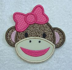 Sock Monkey Girl Fabric Embroidered Iron On Applique Patch Ready to Ship by TheAppliquePatch on Etsy