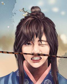 Hwarang Taehyung, Taehyung Fanart, Bts Jungkook, V Hwarang, Fan Art, Bts Anime, Kpop Drawings, Korean Art, Bts Chibi