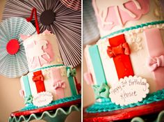 CAKE: FANCY! Carousel horse silhouette on the top tier, and adorable bows on the base