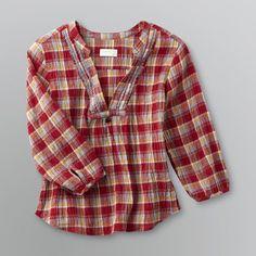 Red plaid peasant blouse