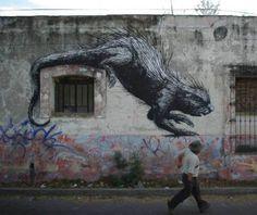 mexican street art by Belgian artist ROA Art Environnemental, Mural Art, Urban Graffiti, Street Art Graffiti, 3d Street Painting, Mexican Artwork, Urbane Kunst, Urban Street Art, Amazing Street Art