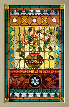 Image detail for -Victorian American Stained Glass Window with Cast Leaves