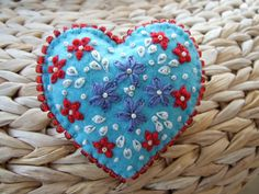 Turquoise Hand Embroidered Heart Felt Pin.   Love the color combination. Love the Embroidery and the Seed Beads