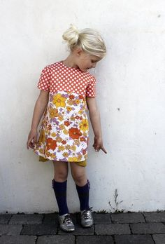 love the pattern mix. don't like the shoes... or styling *_* Orange & Purple Dresses by groovymama