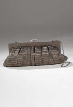 Handbags - Pleated Clutch Handbag with Rhinestone Closure from Camille La Vie and Group USA