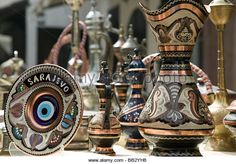 Bosnia & Hercegovina- Sarajevo. Bascarsija Ottoman Era Old Town-Ottoman Style Souvenirs - Stock Image