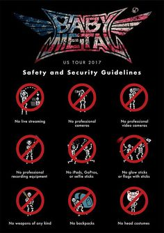 See you the The Hollywood Palladium in #LosAngeles tomorrow!  Important Show Safety Guidelines  #BABYMETAL #BabyandMother #BabyClothing #BabyCare #BabyAccessories