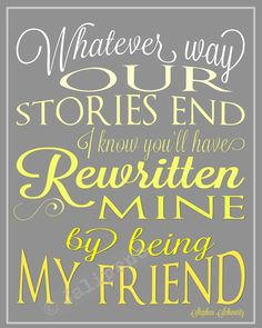 """Wicked Quote Yellow Ombre Wall Art Home Decor from the song """"For Good"""" - """"Whatever way our stories end, I know you'll have rewritten mine by being my friend"""" - INSTANT DOWNLOAD Printable - perfect gift for Going Away, Farewell, Moving, Graduation, or Friendship! Fantastic last minute gift, just print & gift! Other colors & sizes in my shop, check it out!"""