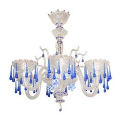 Murano Chandelier Italy Circa 1960 S Cobalt Blue Clear 6 Light With