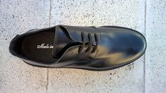 Derby Shoes with Abrasivato black leather, made in italy, top view