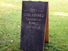 How to Make a Chalkboard Sandwich Board >> http://blog.diynetwork.com/maderemade/2014/09/29/diy-chalkboard-sandwich-board/?soc=pinterest