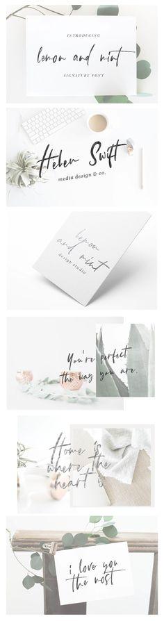 lemon and mint script by Sinikka Li on @creativemarket