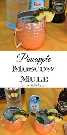 Pineapple Moscow Mule - The Farmwife Drinks A Pineapple Moscow Mule combines the crisp flavors of the ginger beer with sweetness from the pineapple for the perfect summer beer cocktail. Summer Drinks, Cocktail Drinks, Fun Drinks, Cocktail Recipes, Alcoholic Drinks, Beverages, Mixed Drinks, Healthy Cocktails, Beach Drinks
