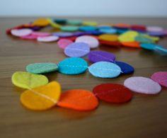 Felt Garland - Rainbow Garland - Circles of Felt - 5 Feet - Free Shipping Black Friday Cyber Monday. $28.00, via Etsy.
