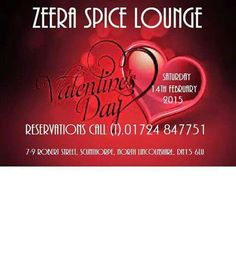 Win valetines meal.at Zeera spice.