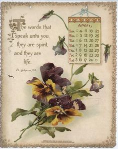 GOLDEN WORDS FROM THE BIBLE CALENDAR FOR 1897.