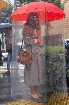 I'd like to walk around in this even when its not raining, an easy way to say keep away from my personal space