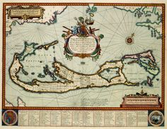 BERMUDA-This map of Bermuda was in 1630 published by Willem Jansz. Blaeu (1571-1638). Blaeu copied the card to an example of the English kartograaf John Speed (1552-1629) from 1626. Speed had the image in turn taken from a map of the English surveyor Richard Norwood (1590-1675) from 1622. The central theme of the map is the popularity of land ownership on the island group.