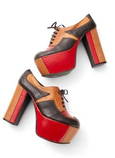 9f0f3685af49 E was 425 now 365 coolest vintage Italian red tan brown leather stacked  lace up platform heels shoes