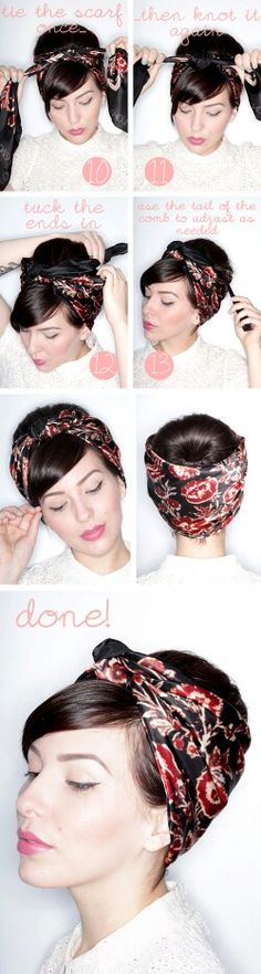 Super how to wear a scarf in your hair head wraps headscarves ideas Bandana Hairstyles, Vintage Hairstyles, Bad Hair, Hair Day, Curly Hair Styles, Natural Hair Styles, Head Scarf Styles, Corte Y Color, Hair Inspiration
