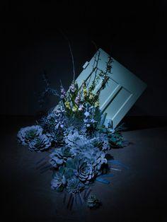 "Elaine Miles & Adrian Lander, ""Glass Doors"", Blown glass, found objects & mixed media, Photograher:: Adrian Lander, 2015."