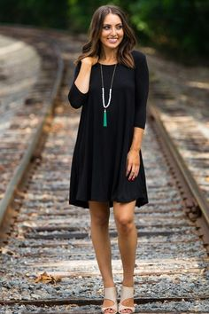 14f9ee1bbdf The Perfect Piko 3 4 Sleeve Swing Dress-Black