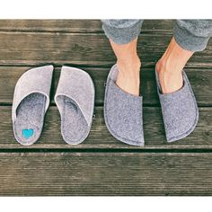 Gray might sound like the most boring color. But look at these two matching pairs with the little blue heart detail. They look so stylish, don't they? Christmas Gifts For Parents, Great Christmas Gifts, Gifts For Mom, Felted Slippers, Mens Slippers, Wool Shoes, Just For You, Take That, Grey Houses