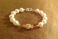 Gorgeous Swarovski pearls 10mm topaz 8mm by Rossanascorner on Etsy, $39.99