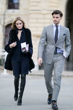 Pin for Later: See the Best Street Style From All of Paris Fashion Week Day 7 Olivia Palermo and Johannes Huebl