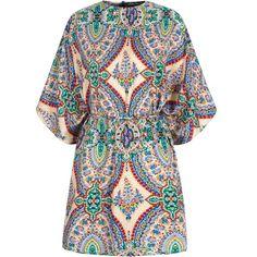 Mela Loves London Paisley Print Self Tie Tunic Dress ($39) ❤ liked on Polyvore featuring dresses, women, mixed print dress, 3/4 length sleeve dresses, paisley print dress, round neck dress and paisley dress