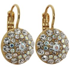 Mariana Gold Plated Moondust Round Swarovski Crystal Earrings, Crystal AB 1141 001AByg