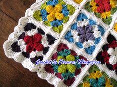 "Love Crochet: Hand crocheted ""Happy Blanket"" throw / blanket / afghan / single 51' X 60"""