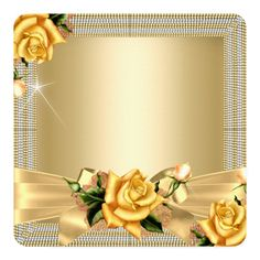 Shop Fabulous 50 Gold Yellow Rose Floral Birthday Party Invitation created by Zizzago. Frame Border Design, Photo Frame Design, 50th Birthday Party Invitations, Elegant Birthday Party, Rose Frame, Flower Frame, Disney Frames, Birthday Frames, Create Your Own Invitations