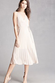 A satin midi dress by Lush amp trade  featuring a pleated skirt ae98d48def2