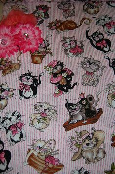 Fancy Cats Designer Fabric.....Adorable fabric to get creative and make something FUN!