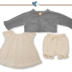 Gorgeous and brand-new pattern kit from Go Handmade.With this pattern kit you get:- Pattern for Dress, Bolero and Bloomers and 6 months)- Pattern accessories(Buttons)Yarn is not included. Baby Knitting Patterns, Knitting For Kids, Knit Or Crochet, Crochet Baby, Baby Outfits, Clothing Patterns, Dress Patterns, Romper Pattern, Handmade Dresses