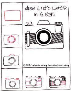 Draw a retro camera step by step.❤