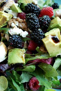 Berry Summer Salad {theprimitivefoodie} 1 C Rasperries 1 C Blackberries 1 Avocado Sliced mushrooms 6 C Fresh Spring Mix or Spinach 12 C Feta Cheese 3 TBSP Olive oil 2 TBSP Balsamic Vinaigrette Pinch of salt