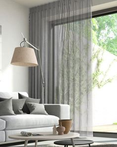 Window Treatment Ideas - Whether you're seeking curtains, tones or something in between, here are outstanding window treatments that are DIY-friendly. Ceiling Curtains, Voile Curtains, Modern Curtains, Curtains Living, Curtains With Blinds, Gray Curtains, Decorative Curtains, Modern Blinds, Mini Blinds