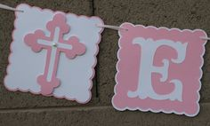 Baptism Banner, Party Decoration, 2 Rows, Pink & White, Religious, Confirmation, God Bless on Etsy, $21.30