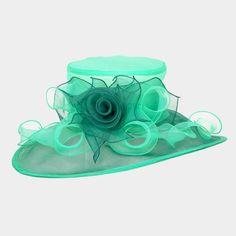 54.10$  Buy now - http://vizov.justgood.pw/vig/item.php?t=hiwnjb41753 - Derby Church Wedding Green Wide Brim Ombre Flower Organza Hat 331598