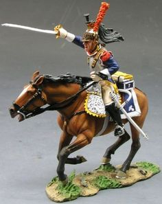 Napoleon's Grande Armee NA114 Cuirassier Charging with Sword - Made by King and Country Military Miniatures and Models. Factory made, hand assembled, painted and boxed in a padded decorative box. Excellent gift for the enthusiast.