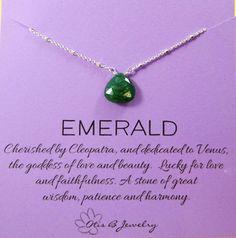 Natural-emerald-necklace-may-birthstone by Www.briguysgirls.etsy.com #emerald #maybirthstone #gifts #etsy #smallbusiness #gemstonemeaning #otisbjewelry @hailsmom04